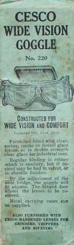 Vintage 1920's ガラス製のゴーグル CESCO