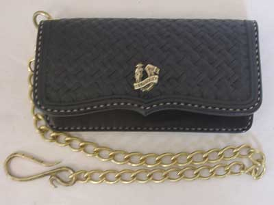 Old West RFTC バスケット柄 カービング Wallet With Brass Chain