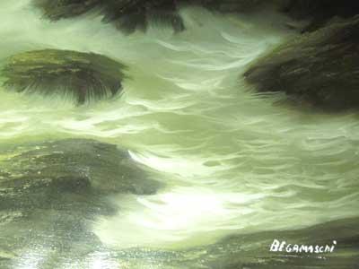 荒波の海岸の油絵、