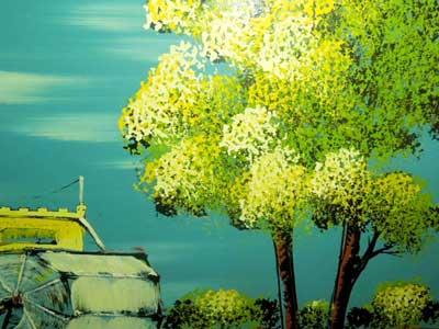 ミシシッピー川の蒸気船の油絵