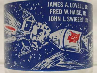 Antique アポロ13号生還記念グラス