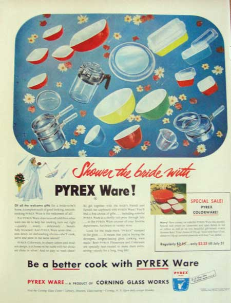 1952 Pyrex Ware Corning Ad Shower the Bride with Pyrex Ware!