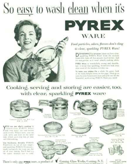 1954 Pyrex Ware pans & dishes ad