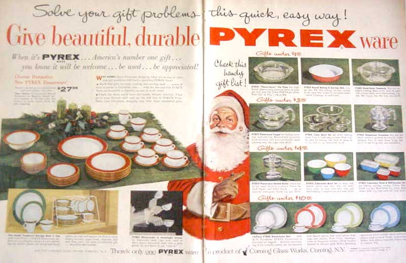 1954 PYREX WARE & DINNERWARE SANTA Gift List AD!