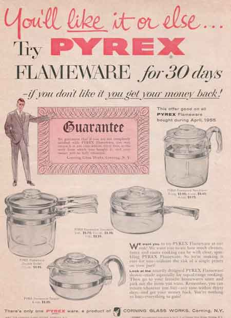 1955 PYREX FLAMEWARE ad
