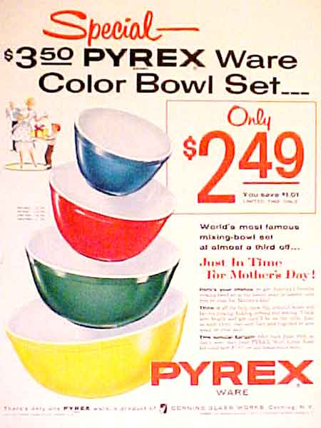 1955 PYREX COLOR COOK WARE COLOR BOWLS CORNING GLASS