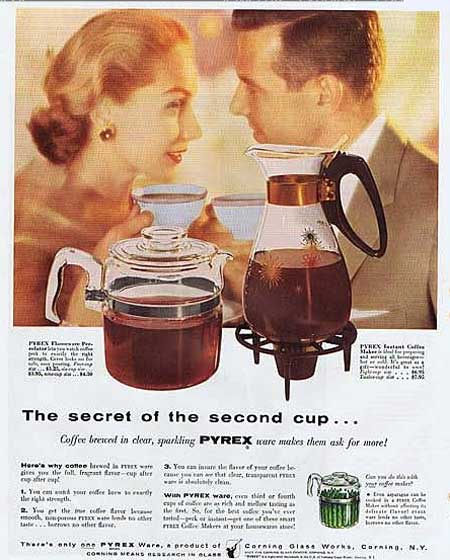 1956 Secret Of The Second Cup PYREX Flameware Percolator Coffee's Ready!