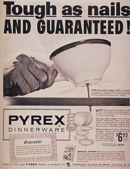 1954 corning pyrex dinnerware ad