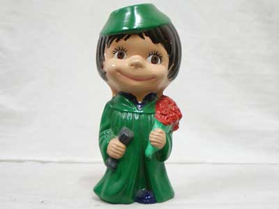 Antique Objet/70年代 陶器製の人形/Green Dress Girl