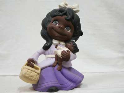 Antique Objet/70年代 陶器製の人形/黒人の少女 & 赤ちゃん