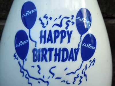 Vintage ボーリングピン AMF Happy Birthdayプリント