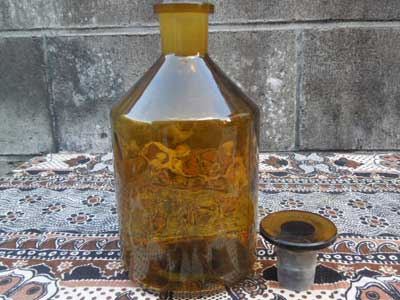 Antique、Vintage、Deadstock Amber Glass Medicine Bottle ビンテージ アンバー ガラスボトル 薬瓶