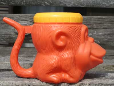 Antique キャラクター・マグカップ/蓋付き猿の