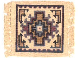 インディアン系デザインのシルクプリントが入ったコースター6枚 set