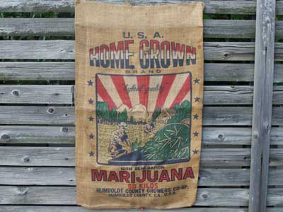 マリファナ柄のジュート製 麻袋/U.S.A. HOME GROWN