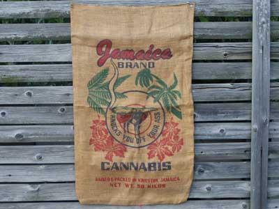 マリファナ柄のジュート製 麻袋/Jamaica